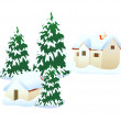 Vector icon house in the snow — Imagens vectoriais em stock
