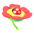 Vector icon flower and lady bug - Stock Vector