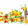 Flowers and fence — Stock Vector