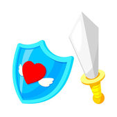 Vector icon shield and knife — Stock Vector