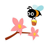 Vector icon flower and bee — Stock Vector