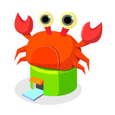 Vector house with crab on the roof — Stock Vector