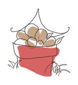 Red bucket of potatoes — Stock Vector