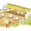 Sheep farm - Stock Vector