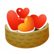 Basket of hearts — Image vectorielle