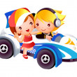 Stock Vector: Children and toy car
