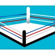 Boxing ring on a blue background  — Stock Vector