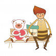 Royalty-Free Stock Imagen vectorial: Boy sitting on a bench