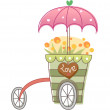 Handcart with yellow flowers — Vector de stock