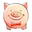 Stock Vector: Pink pig moneybox