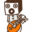 Robot plays guitar — Stockvectorbeeld