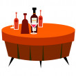 Red table and drinks — Stock Vector