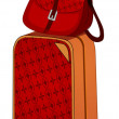 Stock Vector: Red suitcase for travel