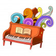 Fantastic piano — Stock Vector