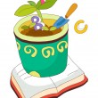 Textbook and flower pot  — Stock Vector