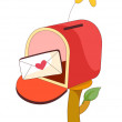 Stock Vector: Red mailbox