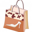 Stock Vector: Brown shopping bag