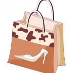 Brown shopping bag — Stock Vector