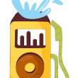 Yellow mp3 player — Stock Vector
