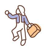 Uomo che tiene una valigia — Vettoriale Stock