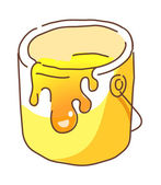 Bucket of yellow paint — Stock Vector