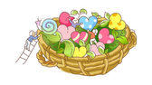 Basket with colorful hearts — Stock Vector
