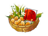 Easter basket with eggs and the Bible — Stock Vector