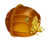 Wooden bucket with gold — Stockvector