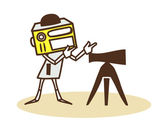 Robot to look into the telescope — Stock Vector