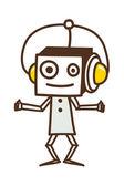 Robot with headphones — Stock Vector