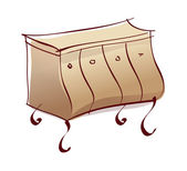 Brown chest of drawers — Stockvektor