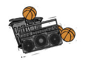 Tape recorder and basketballs — Stock Vector