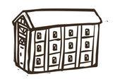 Edifici non colorate — Vettoriale Stock
