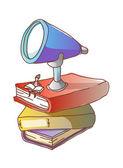 Binoculares y libros — Vector de stock