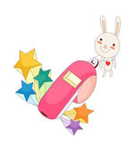 Bunny and whistle — Stock Vector