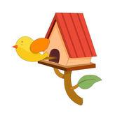 Fågelholk och fågel — Stockvektor