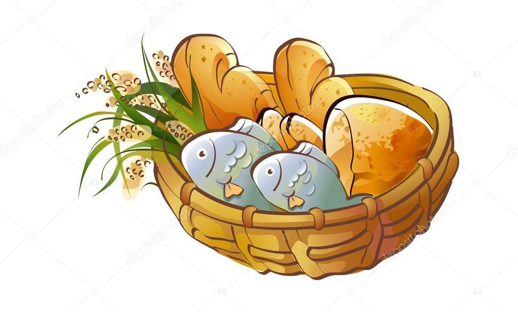 与食品篮子 — 图库矢量图片