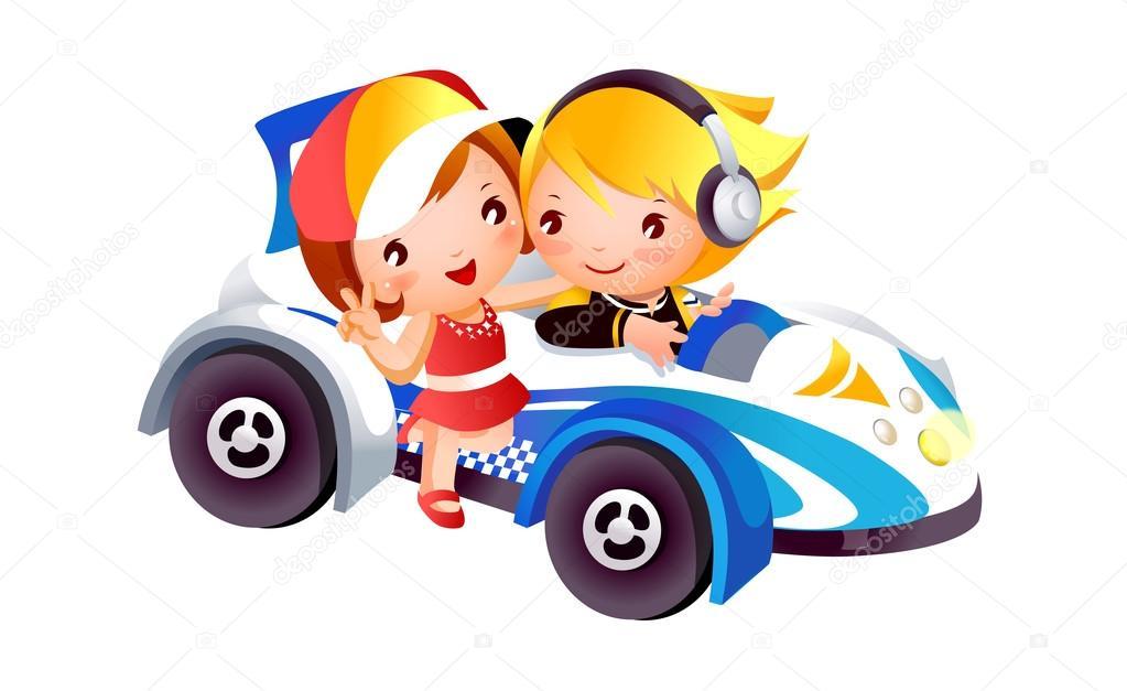 儿童与玩具车 — 图库矢量图片