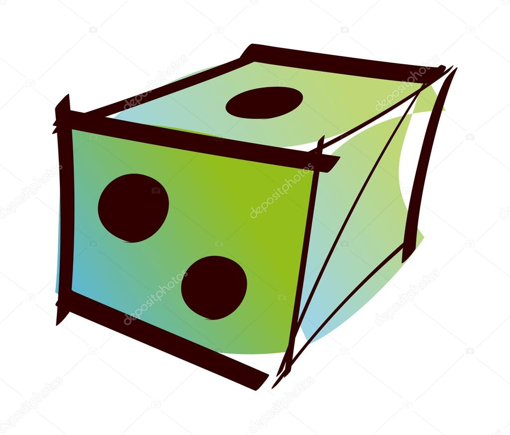 Vector, green dice on a white background — Stock Vector #13454403
