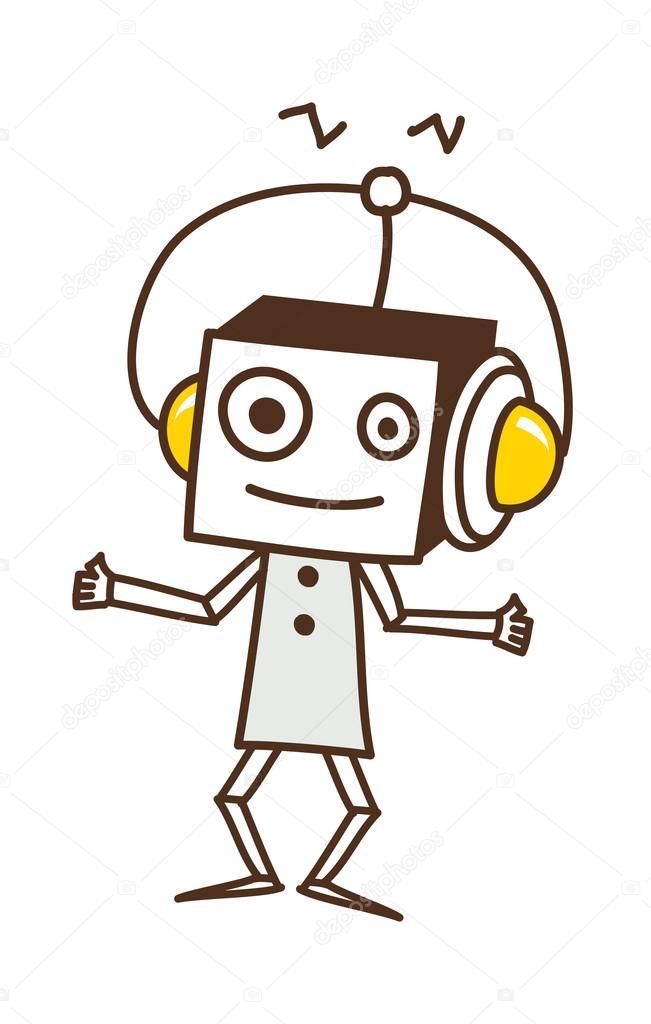 机器人听音乐 — 图库矢量图片