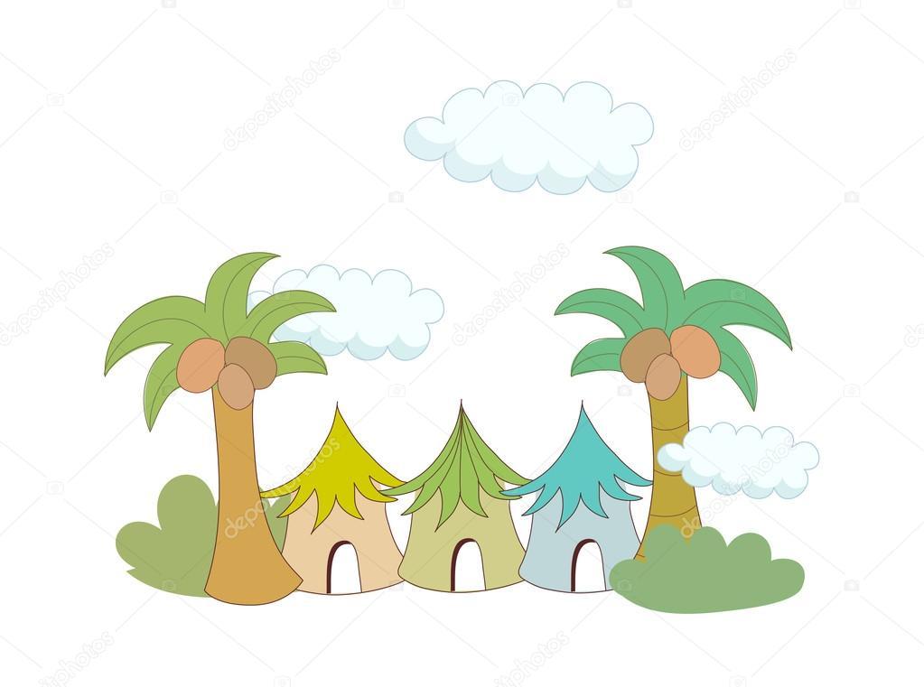 椰子树木和房屋 — 图库矢量图片 #13459544