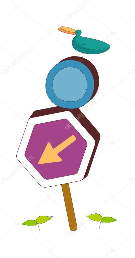 道路标志和鸟 — 图库矢量图片
