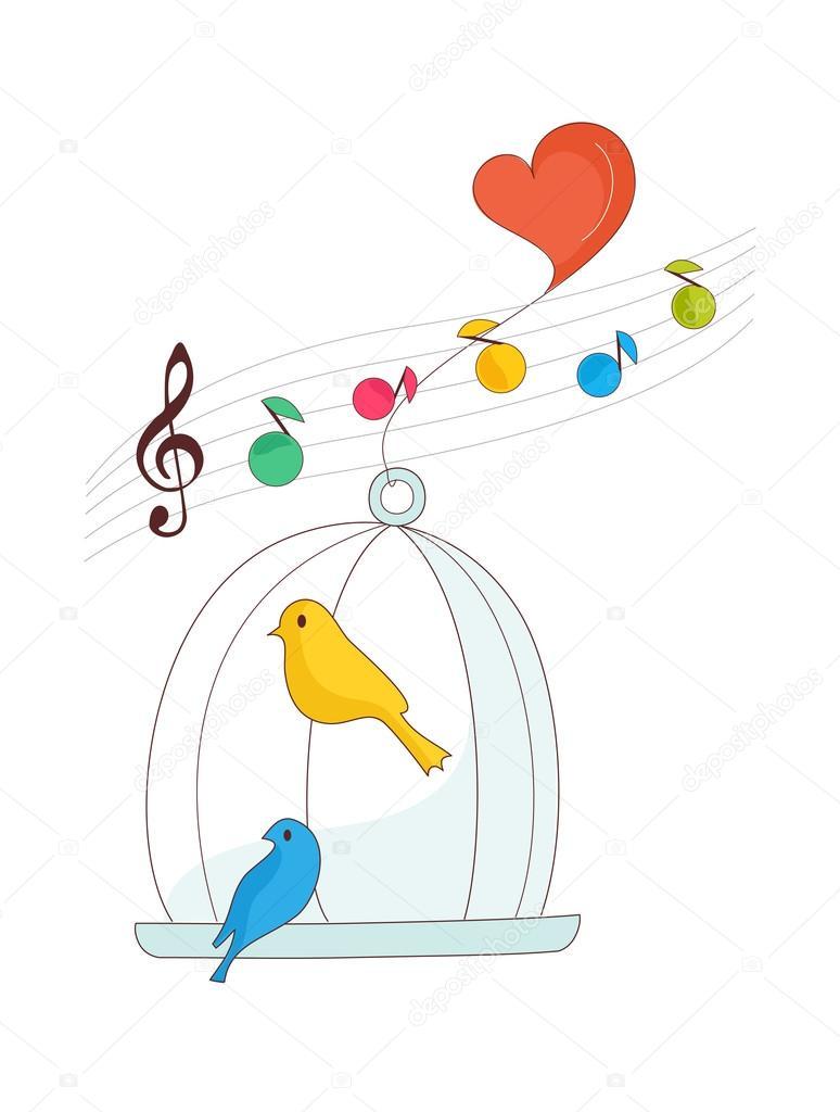 笼子里的小鸟 — 图库矢量图片