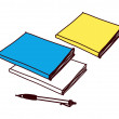 Stock Vector: Colorful textbooks and pen