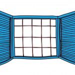 Blue window — Stock Vector