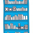 Stock Vector: Blue bookcase