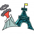Eiffel Tower volcano Vector Illustration - Stock Vector