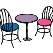 Vector table and chairs - Stock Vector