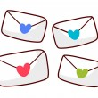 Envelopes with hearts. — Stock Vector