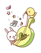 Rabbit and chicken play the violin — Stock Vector